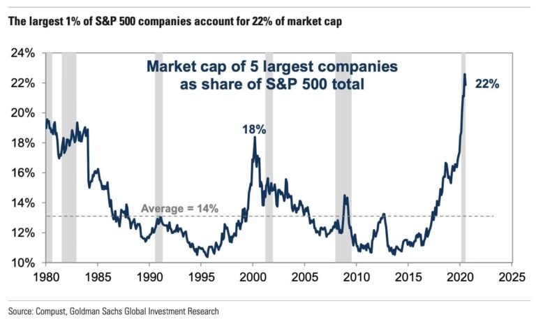Largest 1 Percent of SP500 Account for 22 Percent Market Cap