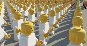 Lego mindless crowd all facing same direction small