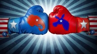 Democrat vs Republican Boxing Gloves Thumbnail