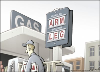 Oil and Gas prices rising cartoon