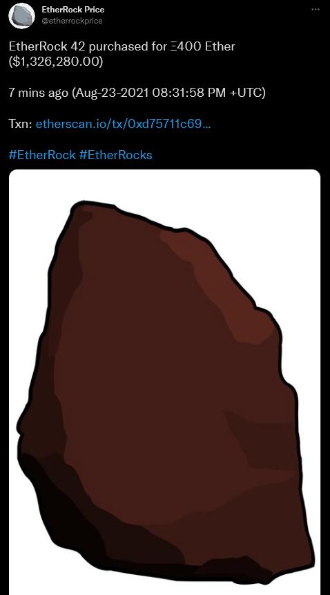 EtherRock 1.3 Million Purchase